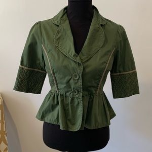 Anthropologie Elevenes Green Short Sleeve Blazer